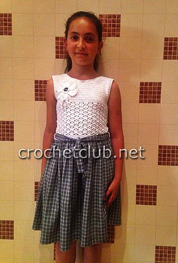вязание крючком и ткань платье для девочки