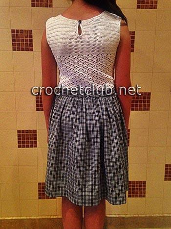 вязание крючком и ткань платье для девочки 1