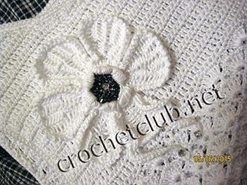 вязание крючком и ткань платье для девочки 4