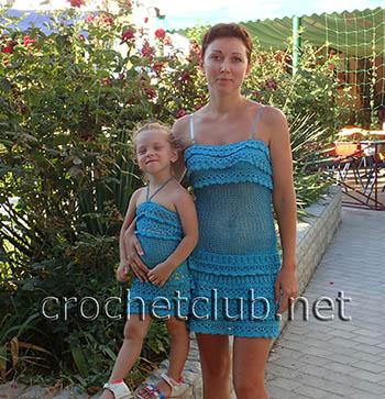 сарафаны крючком для мамы и дочки 1