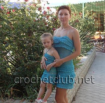 сарафаны крючком для мамы и дочки 2