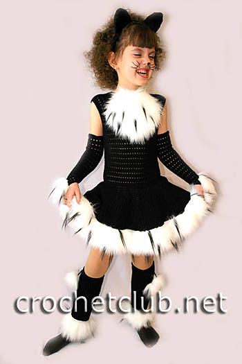 карнавальный вязаный костюм кошечка 3