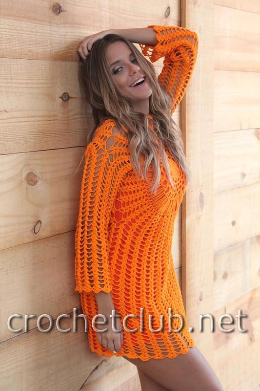 Оранжевое платье крючком описание