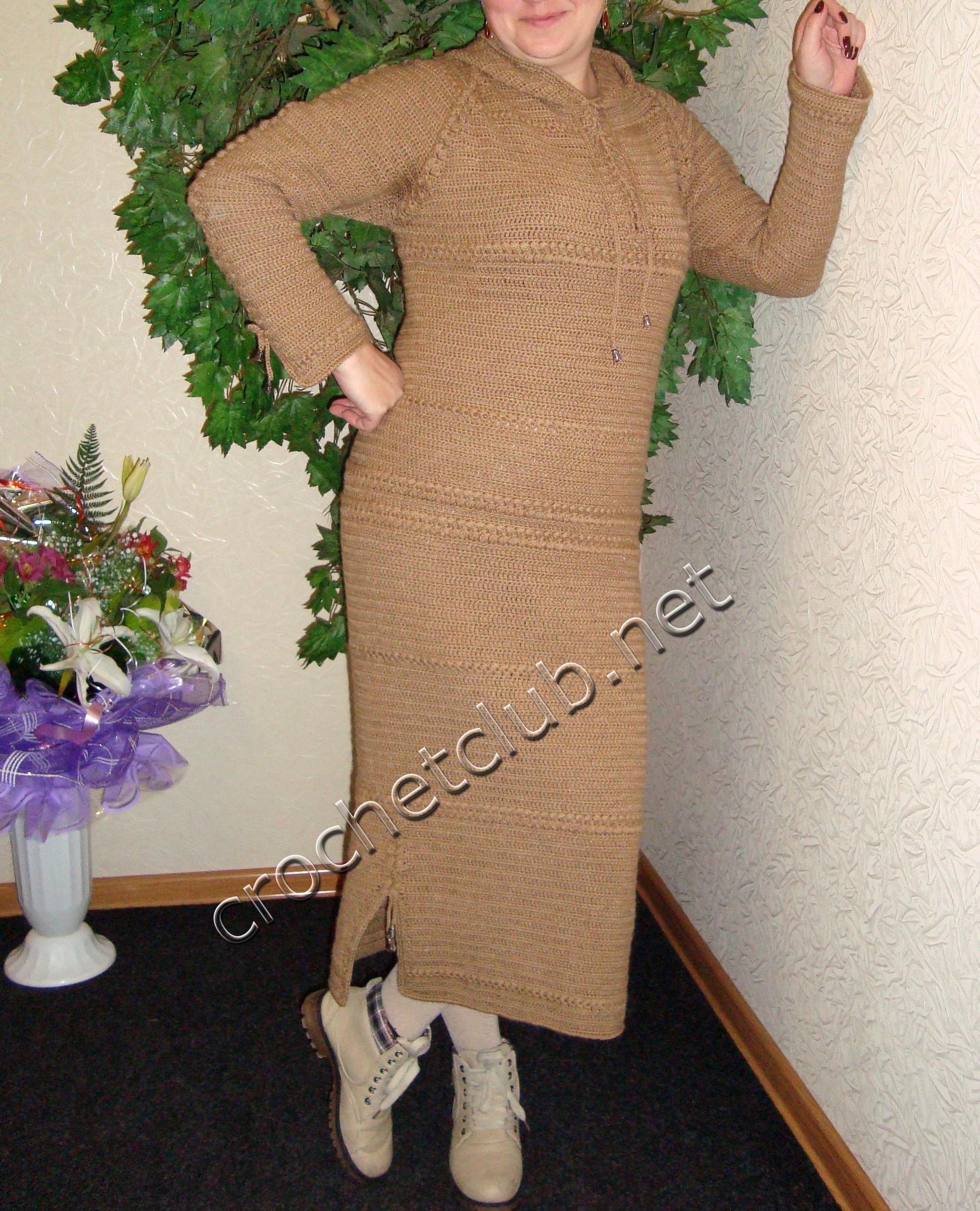 Крючок вязание теплое платье 43