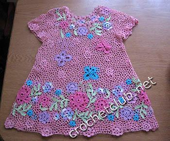 розовое платье в ирландской технике