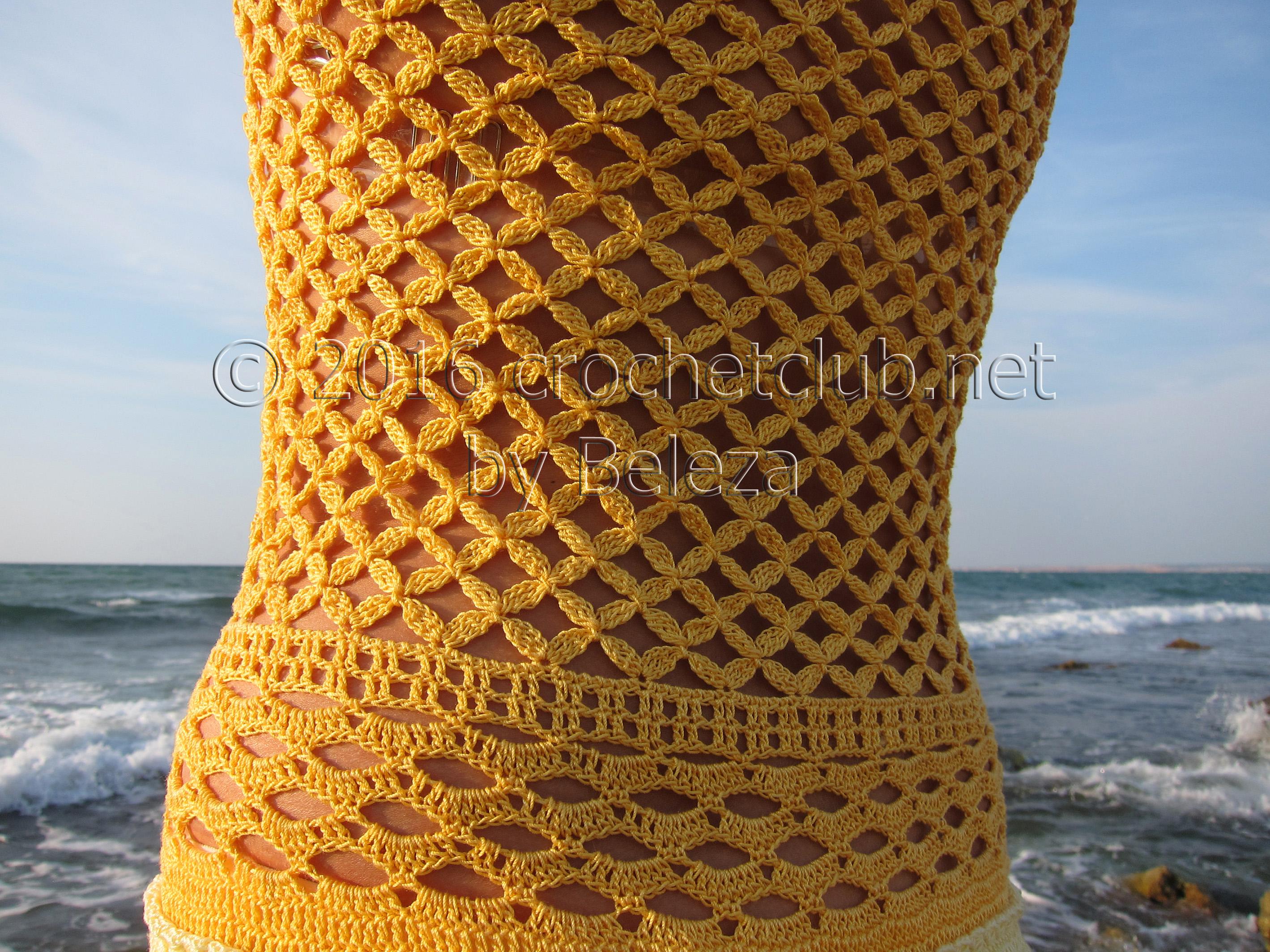 вязание крючком летнего оранжевого сарафана с воланами со схемой
