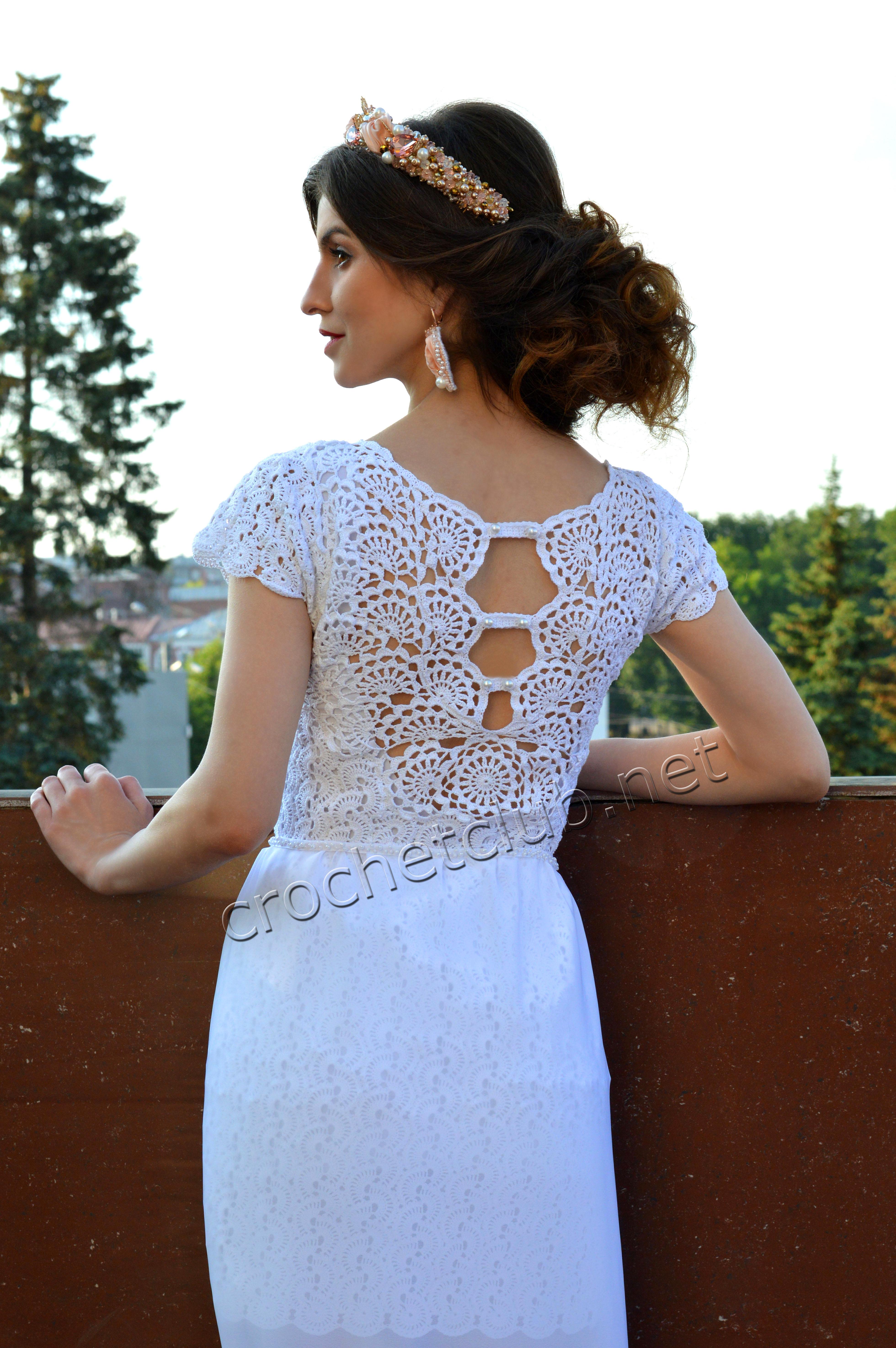 Вязание крючком белое платье крючком