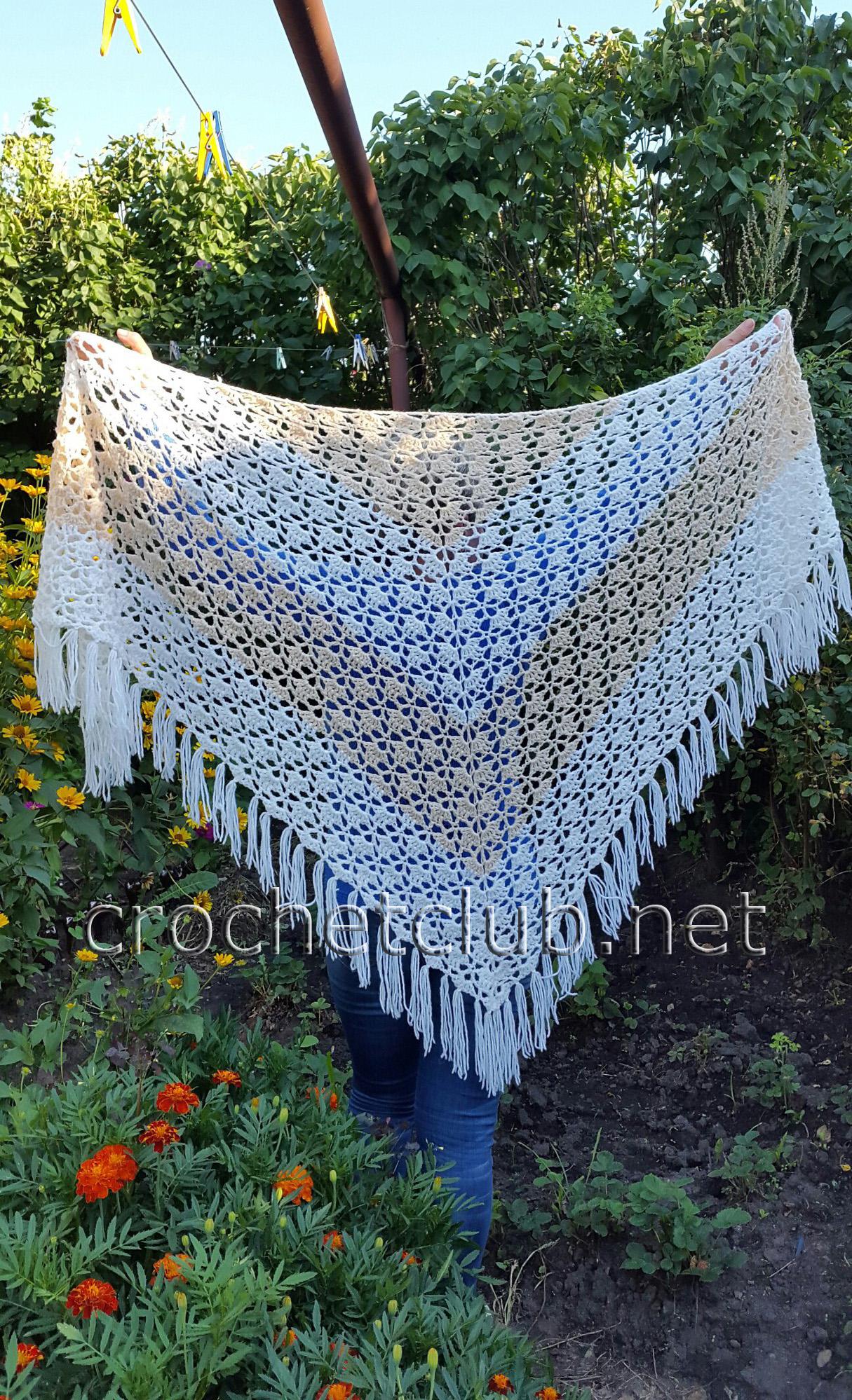 Видеоурок вязания белой шали