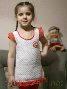 Туника для девочки 4-х лет тунисским крючком
