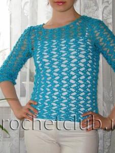 Пуловер голубого цвета