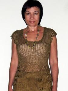 Платье из вискозы, связанное крючком