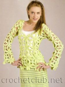 Салатовый костюм крючком