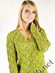 Зеленый пуловер крючком