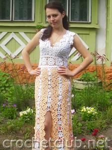 """Платье, связанное в технике """"ленточное кружево"""""""