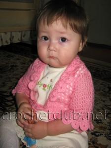 Болеро на девочку от 7 месяцев до 1 года