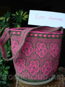"""Вязаная сумка """"Розовая элегантность"""""""