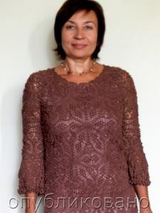"""Платье и футболка, связанные узором """"Попкорн"""""""