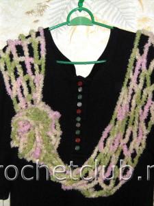 Пушистый вязаный шарф-сетка