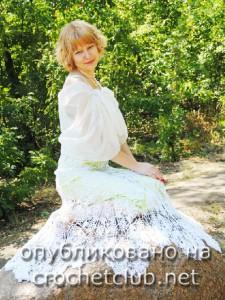 Свадебное платье, связанное крючком