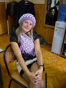 Шапочка и шарф в сиреневых тонах