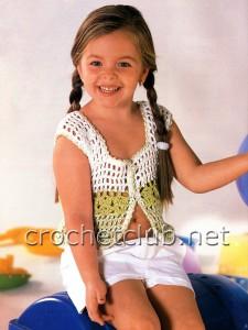 Ажурная маечка на пуговицах для девочки 4 лет
