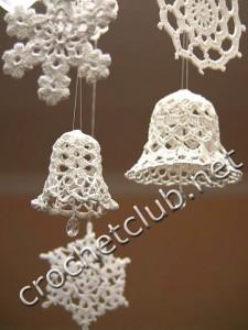 Вязание крючком снежинок и колокольчиков