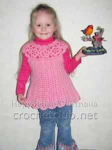 Розовая туника, связанная крючком