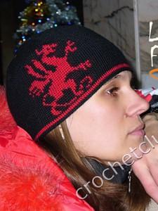 Жаккардовая шапка с драконом. Вяжем онлайн