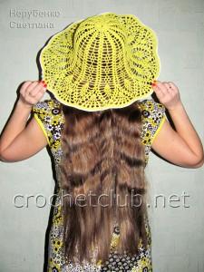 Желтая шляпа крючком