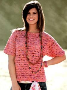Летний меланжевый пуловер