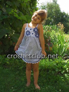 Детский сарафанчик. Вязание крючком и ткань