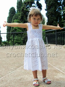 Вязание и ткань. Платье для девочки