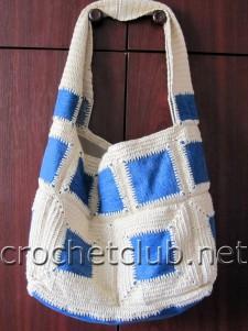 Джинсы + вязание = сумка