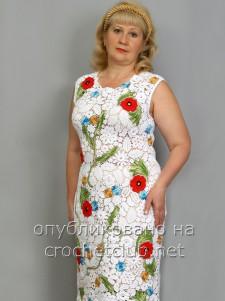 Белое платье в ирландской технике