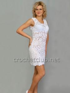 Белое платье в технике сцепного кружева