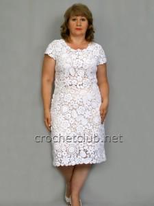 Платье с коротким рукавом в ирландской технике
