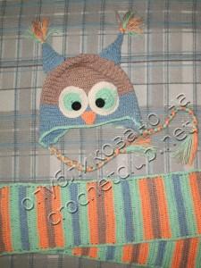 Шапка-сова и шарф - вяжем крючком
