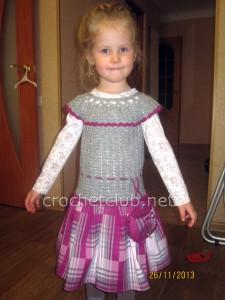 Вязание + ткань. Теплое платье