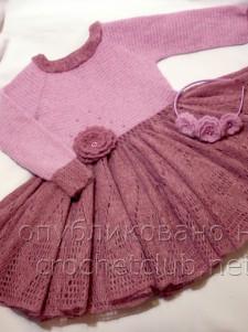 "Платье крючком ""Розовая дымка"""