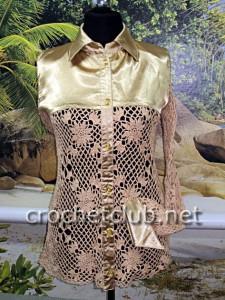 Вязание крючком и ткань = блузка
