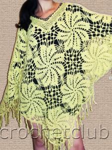 Цветочная шаль (пончо)