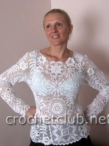 Белый пуловер-ирландское кружево