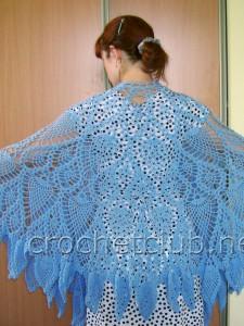 Вязаное пончо и шаль по одной схеме