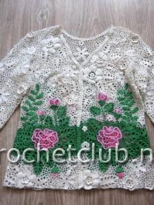 Жакетик с розами-ирландское вязание