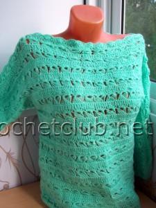 """Вязаный пуловер """"Мятная свежесть"""""""