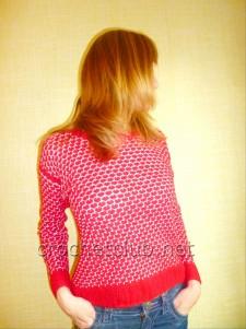 Пуловер, связанный двухцветным узором