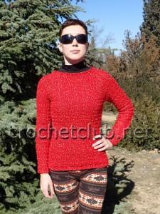Пуловер-реглан крючком
