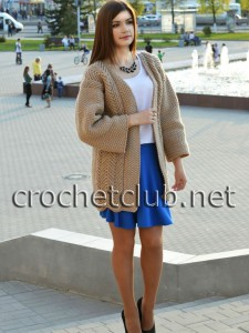 Вязаный кардиган-пальто