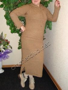 Теплое платье крючком