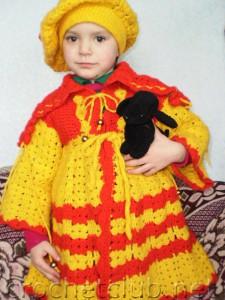 """Комплект """"Солнышко"""" - вязаное пальто и беретик"""